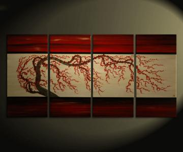 .60x30 Large Plum Blossom Painting Deep Rich Reds