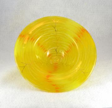 Iridescent Handmade Art Glass Bowl, Sunshine Yellow