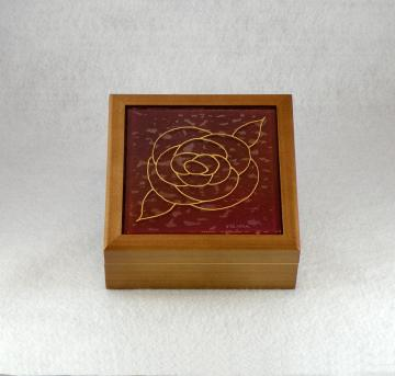 Wooden Treasure Box, Gold Rose on Red Glass Tile