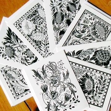 8 Black & White Cards, blank inside