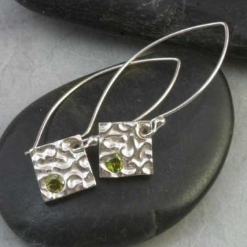 Fine Silver and Green Peridot CZ Earrings