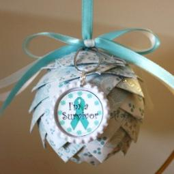 Cervical Cancer Paper Pine Cone Ornament