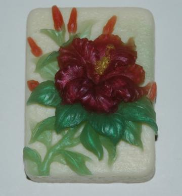 Soap - Ruffled Hibiscus Soap in Goat's Milk and Glycerin - Hibiscus Art Soap - Decorative Flower Soap - Handmade Soap
