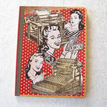 Journal - Composition Book, Quirky Idea Ladies collage cover - 9.75 x 7.5 inches, 100 sheets, wide ruled
