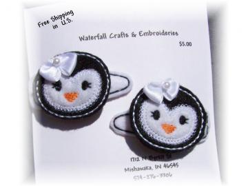 White Faced Penguin Felt Barrettes
