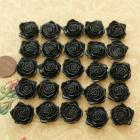 Black plastic flower beads- 3/4inch- 25 pieces