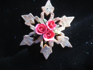 Bread Dough Rose Snowflake Ornament