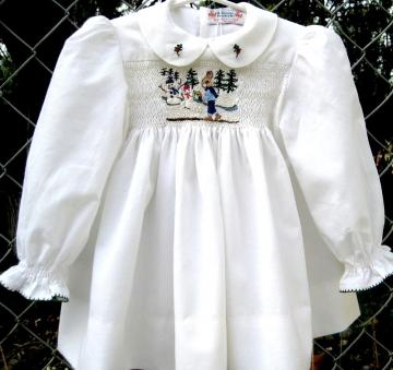 Hand Smocked, Hand Embroidered Baby Dress, Size 1/ Snowbunny
