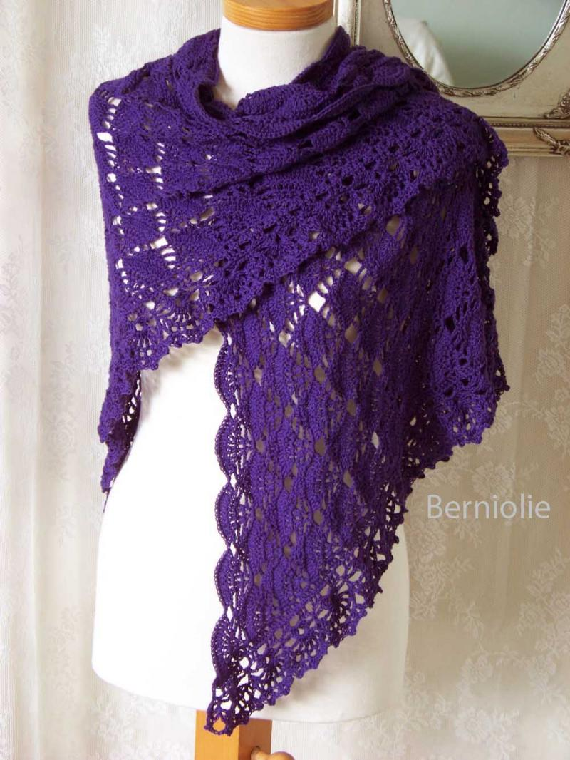 Crochet Shawl Patterns : LAUREN, Crochet shawl pattern, PDF