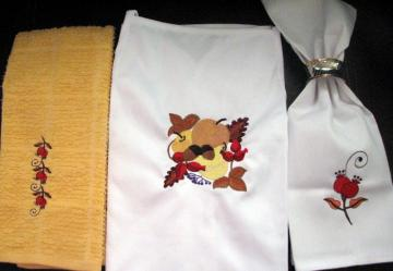 Embroidered Autumn dining room linen by Embroidered Dreams