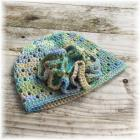 Crocheted Hat Blue Tan Green