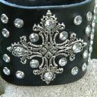 Clear Studded Leather Cuff With Metal Cross