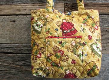 Small Quilted Bag Purse Tote Whimsical Angel pattern