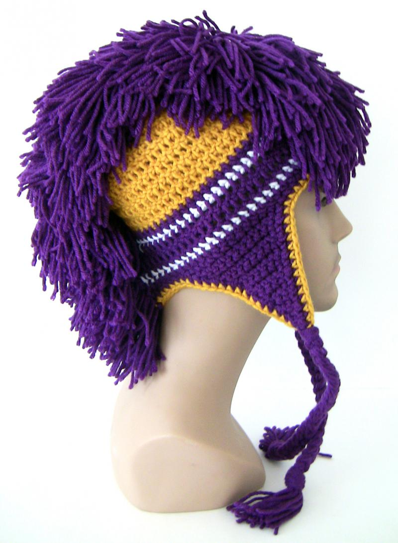 Crochet Mohawk : Mohawk - Crochet Hat - Purple and Gold