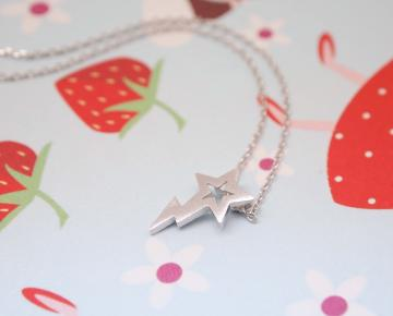 Shooting Star pendant necklace in matt silver