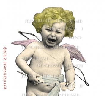 Digital scan PNG Crying CUPID CUTOUT Angel Antique French postcard Photo Download VALENTINE
