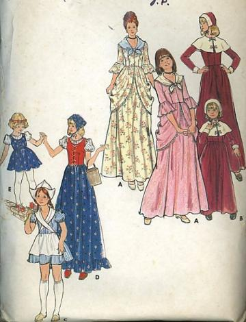 Girl Colonial Pilgrim Dress Apron Hat Costume Sewing Pattern 3 6
