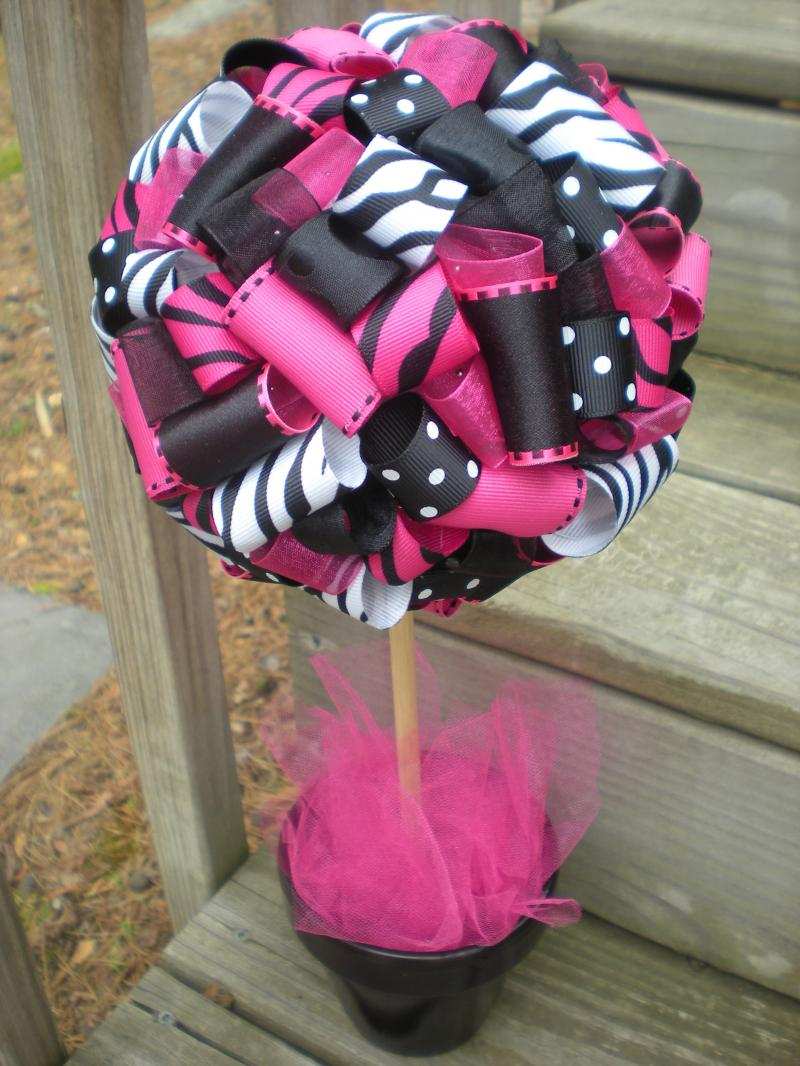 Ribbon Topiary for Zebra Hot Pink Black Party by tangledribbon