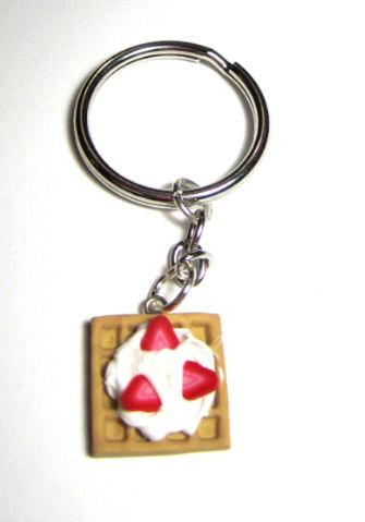 Polymer Clay Strawberry And Cream Waffle Key Chain