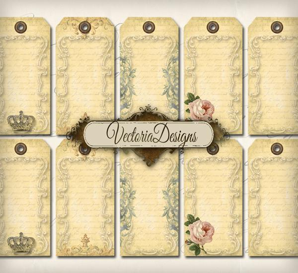 Vintage blank hang tags printable gift tags digital Collage Sheet 185