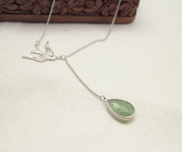 Silver Sparrow and Green aventurine pendant necklace