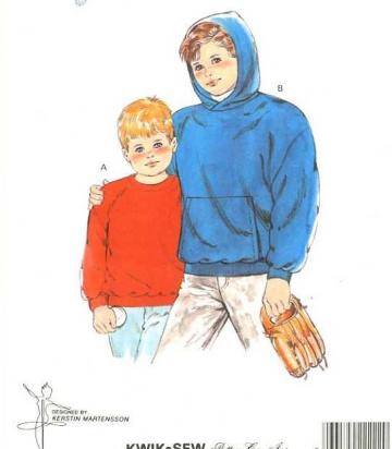 UnCut Kwik Sew Pattern 1730 Boys Hooded Fleece Sweatshirt sizes 4 to 7