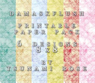 "8x8 Vintage Digital Printable Scrapbook Paper- ""Damaks Flush PAPER PACK"""