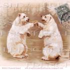 DIGITAL scan POLAR BEARS toasting Champagne RARE Antique French postcard