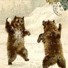 DIGITAL scan BEARS snowball fight Antique French postcard