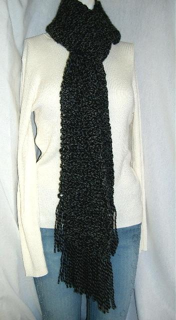 Handmade Crochet Extra Long Black SCARF