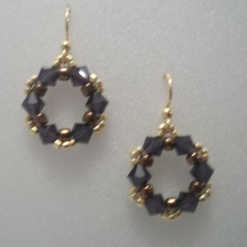 Purple, Copper and Gold Earrings