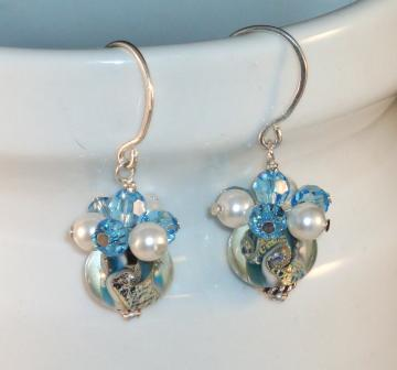Lampwork and Crystal Dangle Earrings
