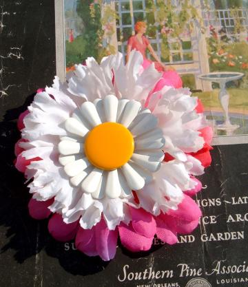 Flower power ooak handmade hair clip