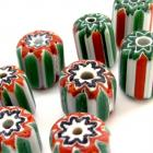 9 Large Glass Green White Red Stripe Chevron Beads