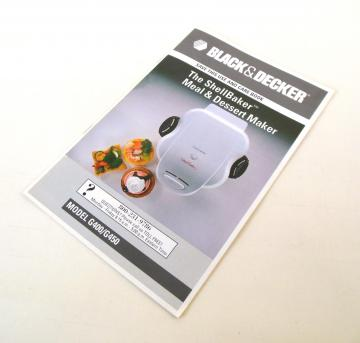 Black Decker Shell Baker Instruction Manual Recipe Book