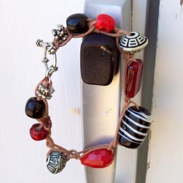 Chunky Glass Bead Bracelet, red black silver on leather cord
