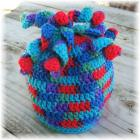 Crocheted Kids Hat Noodle Top Bright Colors