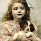 Digital scan Victorian Girl with Brown PUPPY Antique French postcard photo download