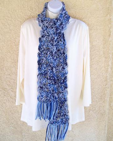 Winter Scarf, crocheted, chunky, 64 inches long - Blue Tones Medley