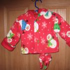Hooded red fleece snowman jacket for girl/boy (L)  up to 24 pounds w/matching mittens