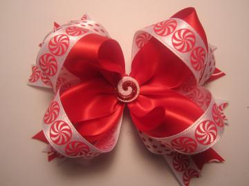 FREE SHIPPING Handmade Chrismas holiday boutique stacked bow red white peppermint candy satin ribbon lined hair clip