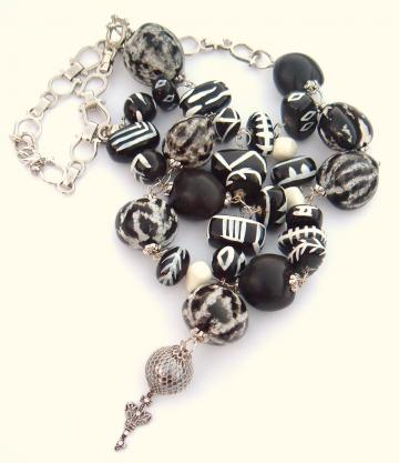 reclaimed recreated Black white bib necklace