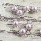 8mm Lavander-Round pearls flowers center
