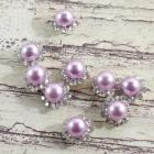 8mm Mid-Lavander-Round pearls flowers center