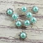 8mm Bashful Blue-Round pearls flowers center