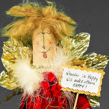 Whoever is Happy will make others HAPPY - Whimsical Doll - Christmas Angel