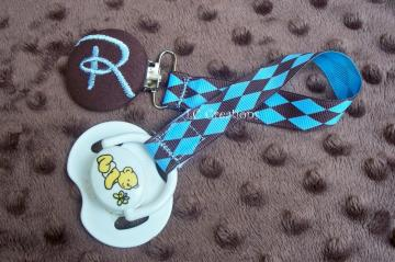 Monogrammed Blue and Brown Pacifier Holder Clip