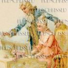 DIGITAL Scan 18th Century Marquis Marchioness Couple White Wig French postcard
