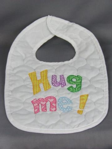 Hand Embroidered Hug Me Baby Bib