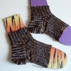 Hand knit ankle Flip flop socks , toe less pedi socks